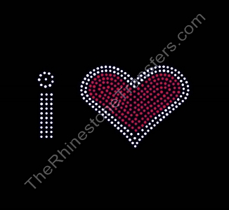 i heart - Lower Case - Thick - Rhinestone Transfer
