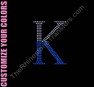 Letter K - 4.0 Inches - Two Tone - CUSTOMIZE YOUR COLORS - Rhinestone Transfer