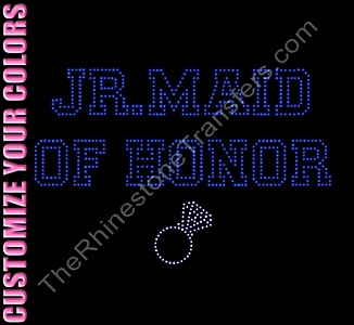 Jr. Maid of Honor - Varsity Outline With Ring - CUSTOMIZE YOUR COLORS - Rhinestone Transfer