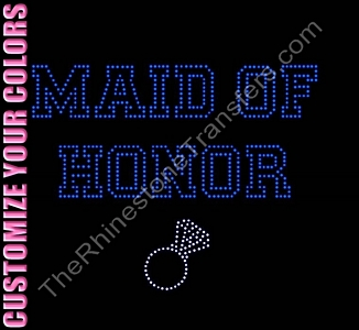 Maid of Honor - Varsity Outline With Ring - CUSTOMIZE YOUR COLORS - Rhinestone Transfer