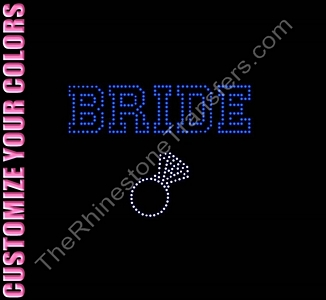 Bride - Varsity Outline With Ring - CUSTOMIZE YOUR COLORS - Rhinestone Transfer
