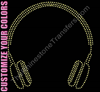 Headphones - CUSTOMIZE YOUR COLORS - Rhinestone Design File Download