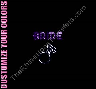 Bride - Two Rows of Stones With Ring - CUSTOMIZE YOUR COLORS - Rhinestone Transfer