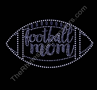 Football Mom - Script Inside Football - Rhinestone Transfer
