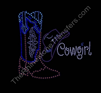 Cowgirl with Cowboy Hat and Boot - Rhinestone Transfer