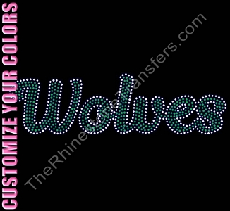Wolves - Script - CUSTOMIZE YOUR COLORS - Rhinestone Transfer