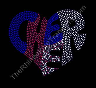 CHEER Heart - Filled - Red, White and Blue - Rhinestone Transfer