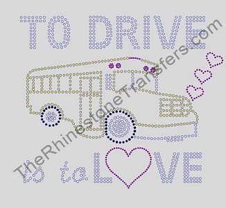 To Drive Is To Love - With School Bus - Rhinestone Transfer