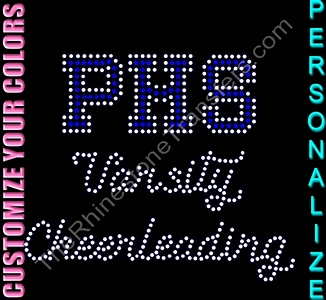 YOUR SCHOOL Varsity Cheerleading - Personalized - CUSTOMIZE YOUR COLORS - Rhinestone Transfer