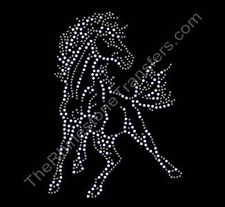 Horse - Mustang - Crystal and Topaz - Rhinestone Transfer