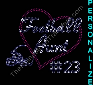 Football Aunt - With Heart, Helmet and Number - Personalized - Rhinestone Transfer