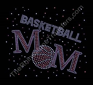 BASKETBALL MOM - with Scattered Rhinestones - Large - Rhinestone Transfer