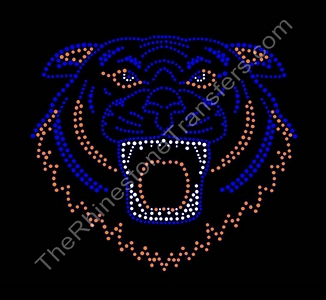 Tiger Face - Outline - Rhinestone Transfer