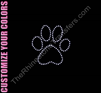 Paw Print - 3.5 Inches - Outline - CUSTOMIZE YOUR COLORS - Rhinestone Transfer