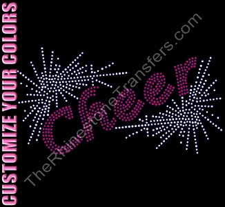 Cheer - Glittery Burst - CUSTOMIZE YOUR COLORS -  Rhinestone Transfer