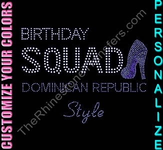BIRTHDAY SQUAD - with Shoe - Personalized - CUSTOMIZE YOUR COLORS - Rhinestone Transfer