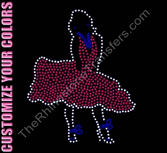 Woman in Dress and Heels - Full Dress - CUSTOMIZE YOUR COLORS - Rhinestone Transfer