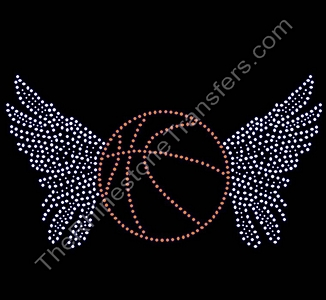 Basketball With Wings - Rhinestone Transfer