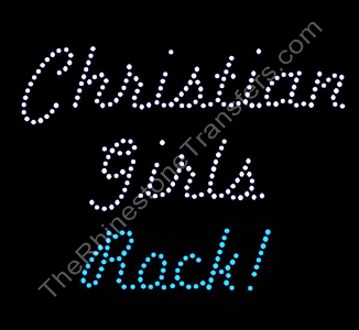 Christian Girls Rock! - Lt. Aquamarine - Large  Rhinestone Transfer