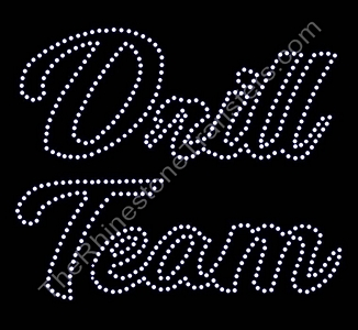 Drill Team - Script - 10 Inches - Outlined - Rhinestone Transfer