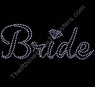 Bride - Script with Diamond - Rhinestone Transfer