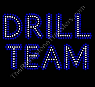 DRILL TEAM - Cobalt Outline - ss16 Stones - Rhinestone Transfer