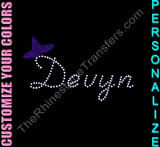 Name with Witch's Hat - Personalized - CUSTOMIZE YOUR COLORS - Rhinestone Transfer