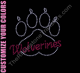 Wolverines Through Paw Print - CUSTOMIZE YOUR COLORS - Rhinestone Transfer