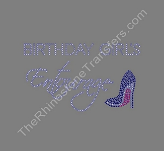 Birthday Girl's Entourage - with Shoe - Rhinestone Transfer
