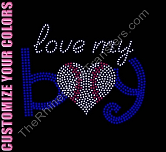 Love My Boy - With Baseball Heart - CUSTOMZIE YOUR COLORS - Rhinestone Transfer