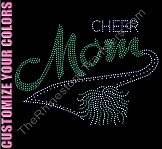 Cheer Mom - With PomPom - CUSTOMIZE YOUR COLORS - Rhinestone Transfer