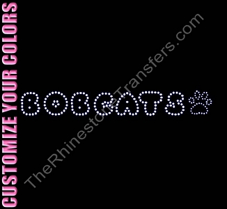Bobcats - Bubble Font with Paw Print - CUSTOMIZE YOUR COLORS - Rhinestone Transfer