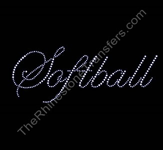 Softball - Fancy Script - Rhinestone Transfer
