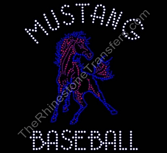 Mustang Baseball - With Mustang - Rhinestone Transfer