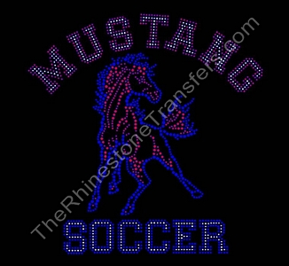 Mustang Soccer - With Mustang - Varsity Font - Rhinestone Transfer