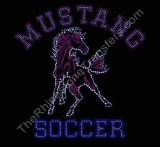 Mustang Soccer - With Siam & Crystal Mustang - Varsity Font - Rhinestone Transfer