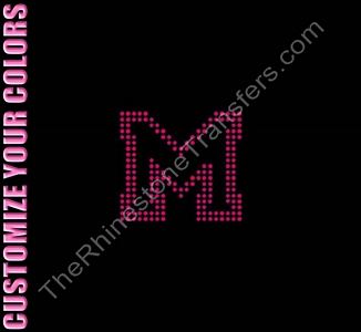 Varsity Letter M - 2.7 Inches - Two Rows of Stones Outlined - CUSTOMIZE YOUR COLORS - Rhinestone Transfer