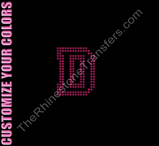 Varsity Letter D - 2.7 Inches - Two Rows of Stones Outlined - CUSTOMIZE YOUR COLORS - Rhinestone Transfer