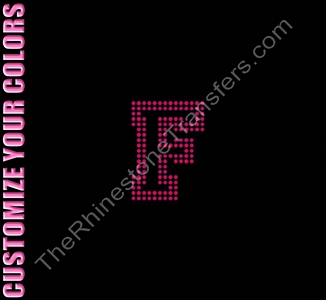 Varsity Letter F - 2.7 Inches - Two Rows of Stones Outlined - CUSTOMIZE YOUR COLORS - Rhinestone Transfer
