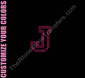 Varsity Letter J - 2.7 Inches - Two Rows of Stones Outlined - CUSTOMIZE YOUR COLORS - Rhinestone Transfer