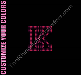 Varsity Letter K - 2.7 Inches - Two Rows of Stones Outlined - CUSTOMIZE YOUR COLORS - Rhinestone Transfer