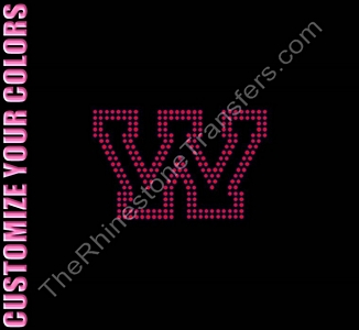 Varsity Letter W - 2.7 Inches - Two Rows of Stones Outlined - CUSTOMIZE YOUR COLORS - Rhinestone Transfer