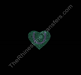 Tennis Ball Heart - Rhinestone Transfer