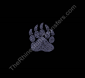 Paw with Claws - 3.0 Inches Tall - Rhinestone Transfer
