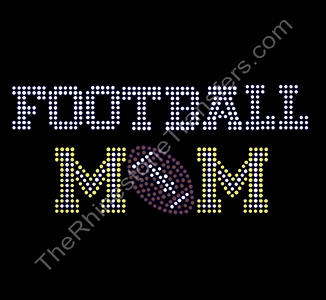 FOOTBALL MOM - with Football - Varsity Font - Citrine - Rhinestone Transfer