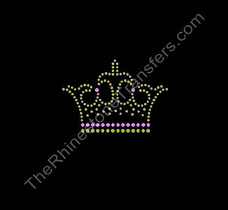 Crown - Fancy - Topaz and Pink - Rhinestone Transfer