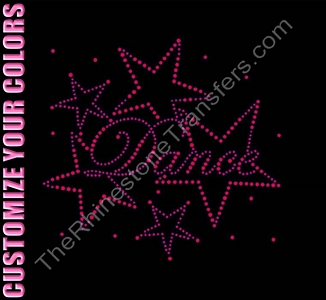 Dance - Fancy Script with Stars - Smaller - CUSTOMIZE YOUR COLORS - Rhinestone Transfer