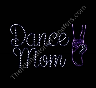 Dance Mom Script - with Ballet Slipper - Smaller - Rhinestone Transfer