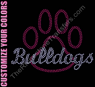 Bulldogs thru Paw Print - Outlined - CUSTOMIZE YOUR COLORS - Rhinestone Transfer