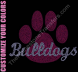 Bulldogs thru Paw Print - Filled - CUSTOMIZE YOUR COLORS - Rhinestone Transfer